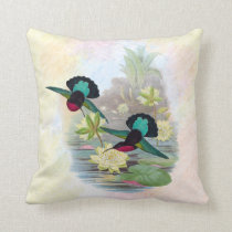 Hummingbirds and Water Lilies Indoor Pillow 16x16