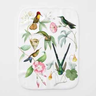 Hummingbirds Birds Wildlife Animals Flowers Floral Baby Burp Cloth