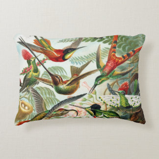 Hummingbirds by Ernst Haeckel Accent Pillow