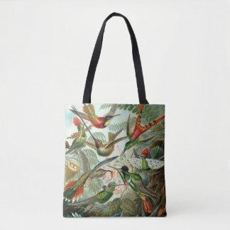 Hummingbirds by Ernst Haeckel, Vintage Birds Trees Tote Bag