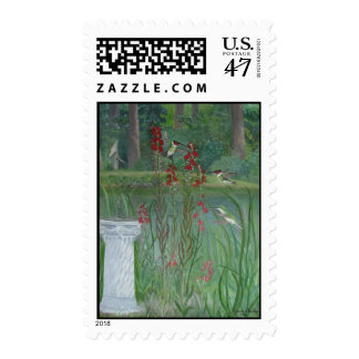 Hummingbirds by the Pond Postage