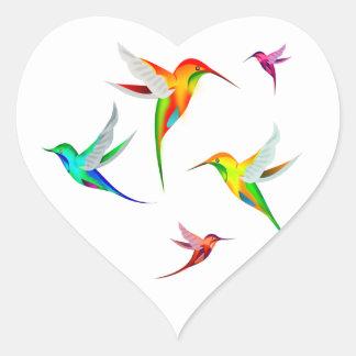 Hummingbirds Flock Cute - Colorful Bird Watching Heart Sticker