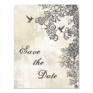 Hummingbirds Floral Save the Date Wedding Notice 4.25x5.5 Paper Invitation Card