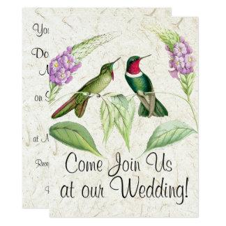 Hummingbirds Flowers Floral Wedding Invitations