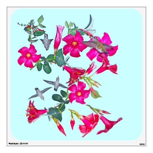 Hummingbirds & Flowers Wall Decal