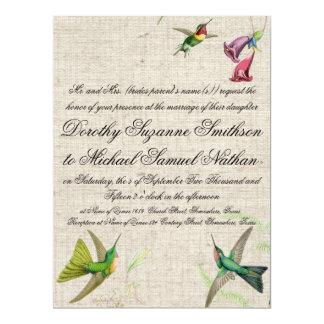 Hummingbirds & Flowers Wedding Invitation
