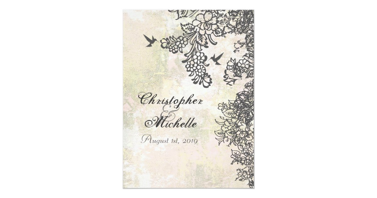 Hummingbird Wedding Invitations: Hummingbirds Flowers Wedding Invitation With RSVP