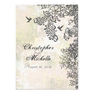 Hummingbirds Flowers Wedding Invitation with RSVP