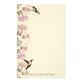 Hummingbirds & Honeysuckle Flowers Stationery