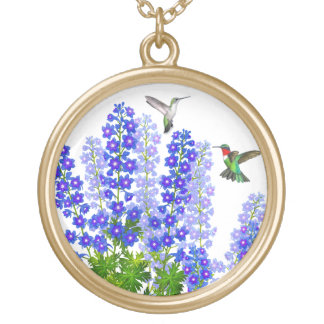 Hummingbirds in Blue Delphinium Flowers Necklace