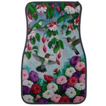 Hummingbirds in Fuchsia Flower Garden Car Floor Mat