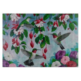 Hummingbirds in Fuchsia Flower Garden Cutting Board