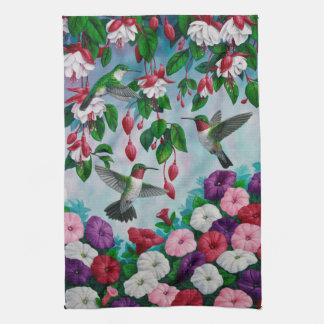 Hummingbirds in Fuchsia Flower Garden Hand Towel