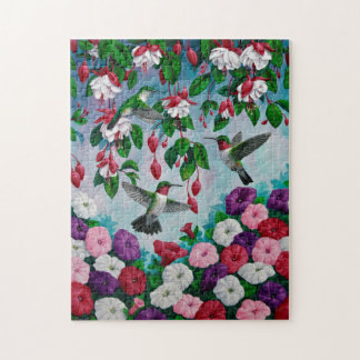 Hummingbirds in Fuchsia Flower Garden Jigsaw Puzzle