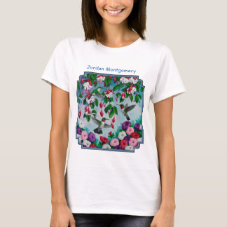Hummingbirds in Fuchsia Flower Garden T-Shirt