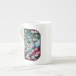 Hummingbirds in Fuchsia Flower Garden Tea Cup