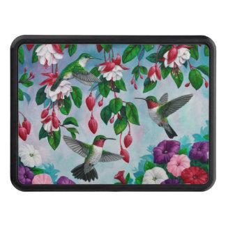 Hummingbirds in Fuchsia Flower Garden Trailer Hitch Cover