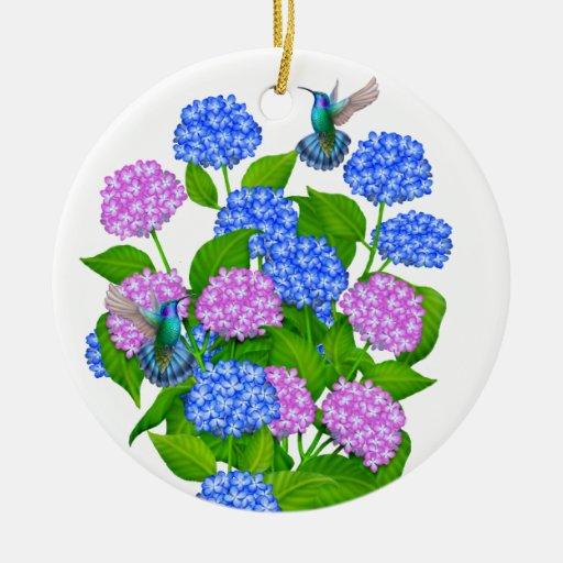 Hummingbirds in Hydrangea Flowers Ornament
