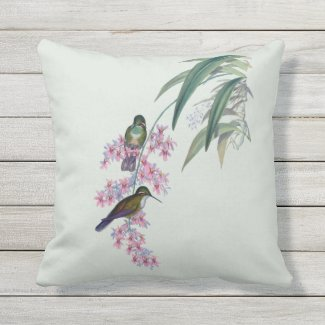 Hummingbirds in Orchids Outdoor Pillow 16x16