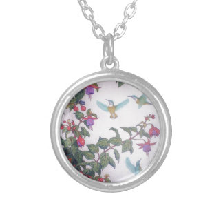 Hummingbirds in Spring Round Pendant Necklace