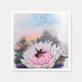 Hummingbirds in Water Lilies Paper Napkin