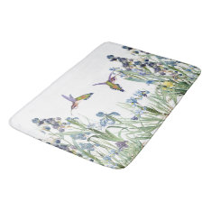 Hummingbirds & Iris Floral Flowers Garden Bath Mat at Zazzle