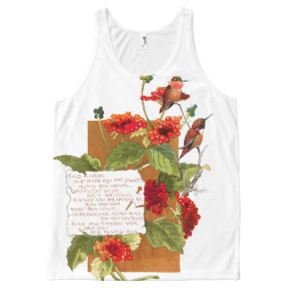 Hummingbirds Lantana Flowers Trumpet Floral Poem All-Over Print Tank Top