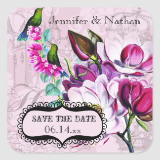 Hummingbirds Magnolias Save the Date Stickers