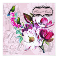 Hummingbirds Magnolias Square Wedding Invitation