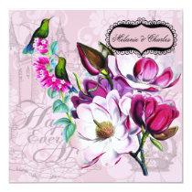 Hummingbirds Magnolias Square Wedding Invitation