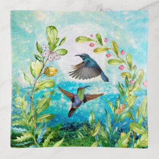 Hummingbirds Morning Sunrise   Serene Nature Art Trinket Trays