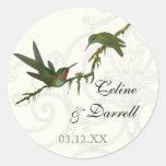 Hummingbirds n Swirls  -  Wedding Sticker or Seal