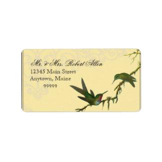 Hummingbirds n Swirls Yellow Return Address Labels