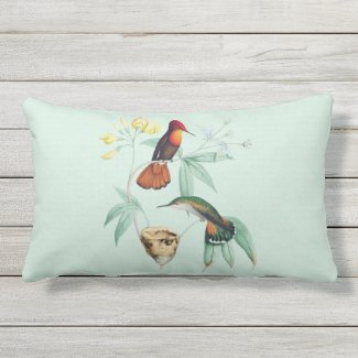 Hummingbirds Nest Natural Outdoor Lumbar Pillow