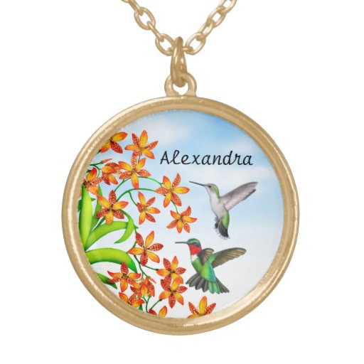 Hummingbirds on Candy Lily Flowers Necklace