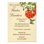 """Hummingbirds on Trumpet Vine Custom Invitation 5"""" X 7"""" Invitation Card"""