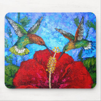 Hummingbirds Painting Art On Mousepad