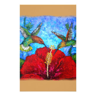 Hummingbirds Painting Design On Stationery