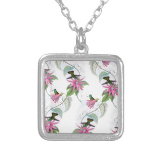 Hummingbirds pattern silver plated necklace