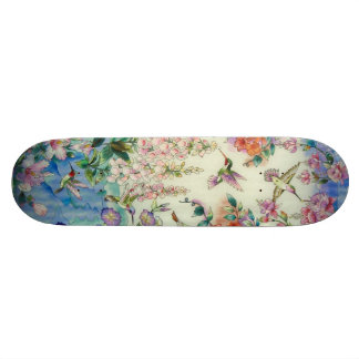 Hummingbirds Pink Flowers Skateboard Awesome