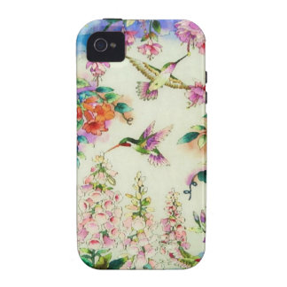 Hummingbirds PinkFlowers Case-Mate iPhone 4 Case