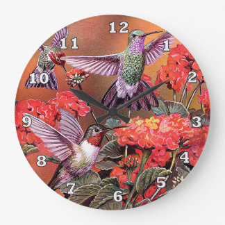 Hummingbirds Round (Large) Wall Clock