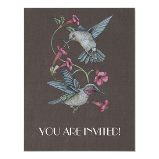 "Hummingbirds & Vine 4.25"" X 5.5"" Invitation Card"