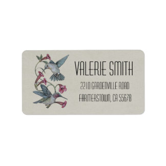 Hummingbirds & Vine Label