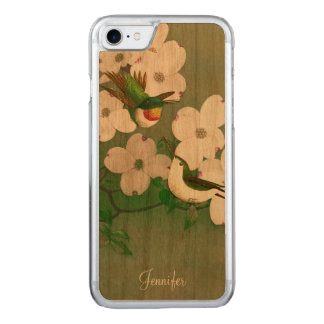Hummingbirds Vintage Art Wooden iPhone 6 Carved iPhone 7 Case