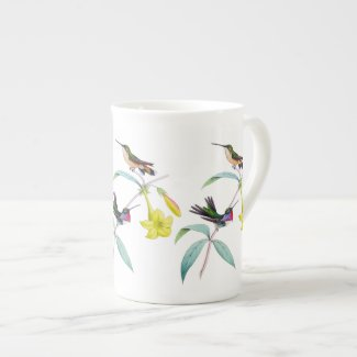 Hummingbirds Wildflower Botanical Bone China Mug