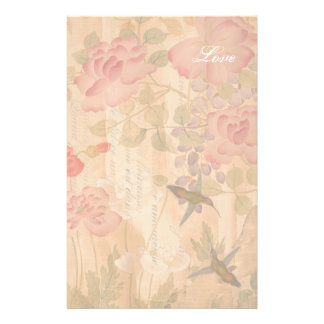 Hummingbirds Wisteria Roses Flowers Floral Poem Stationery