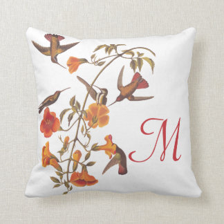 Hummingbirds with Flowering Orange Trumpet Vine Throw Pillow