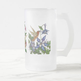 Hummingbirds with flowers frosted glass beer mug