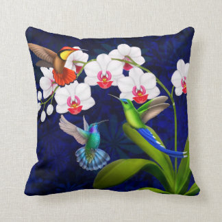Hummingbirds with Orchid Flowers Throw Pillow